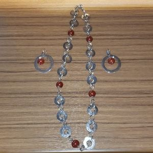 Stainless steel necklace and earring set